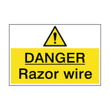 Danger Razor Wire Hazard Sign | PVC Safety Signs