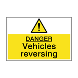 Danger Vehicles Reversing Hazard Sign | PVCSafetySigns.co.uk