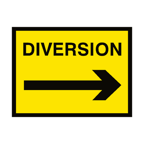 Diversion Arrow Right Traffic Sign | PVC Safety Signs