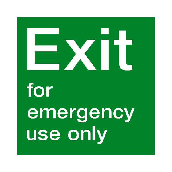 Exit For Emergency Use Sign | PVCSafetySigns.co.uk