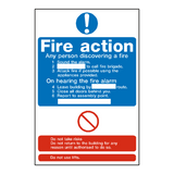 Hotel Fire Action Notice Sign - PVC Safety Signs