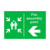 Fire Assembly Point Arrow Left Sign | PVCSafetySigns.co.uk