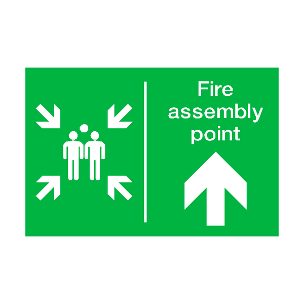 Fire Assembly Point Arrow Up Sign | PVCSafetySigns.co.uk