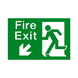 Fire Exit Down Left Arrow Sign - PVC Safety Signs | Safety Signs Specialists