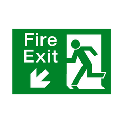 Fire Exit Down Left Arrow Sign