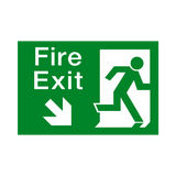 Fire Exit Down Right Arrow Sign - PVC Safety Signs | Safety Signs Specialists