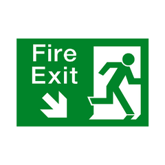 Fire Exit Down Right Arrow Sign