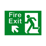 Fire Exit Up Left Arrow Sign - PVC Safety Signs | Safety Signs Specialists