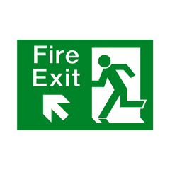 Fire Exit Up Left Arrow Sign