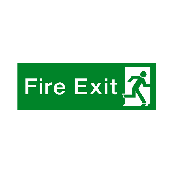 Fire Exit Running Man Right HSE Sign | PVCSafetySigns.co.uk