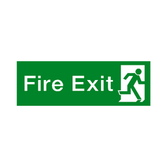 Fire Exit Running Man Right HSE Sign - PVC Safety Signs | Safety Signs Specialists