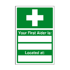 First Aider Location Sign | PVC Safety Signs | Health and Safety Signs