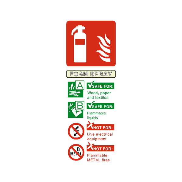 Foam Spray Fire Extinguisher Sign | PVCSafetySigns.co.uk