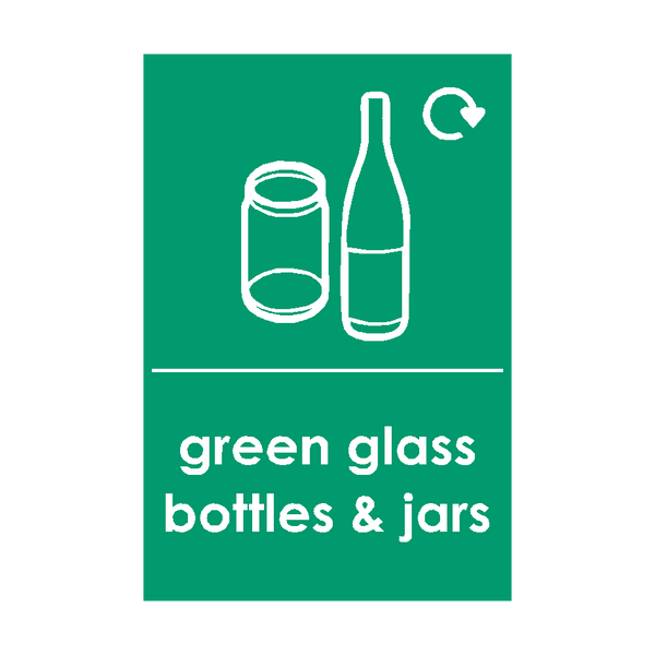 Green Glass Waste Sign | PVC Safety Signs