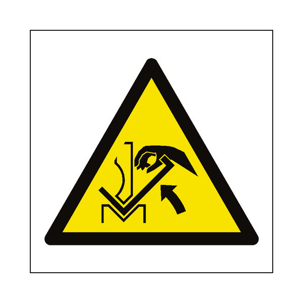 Hand Crush In Press Brake Hazard Symbol Sign Pvc Safety