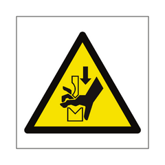 Hand Crush in Press Hazard Symbol Sign | PVC Safety Signs | Health and Safety Signs