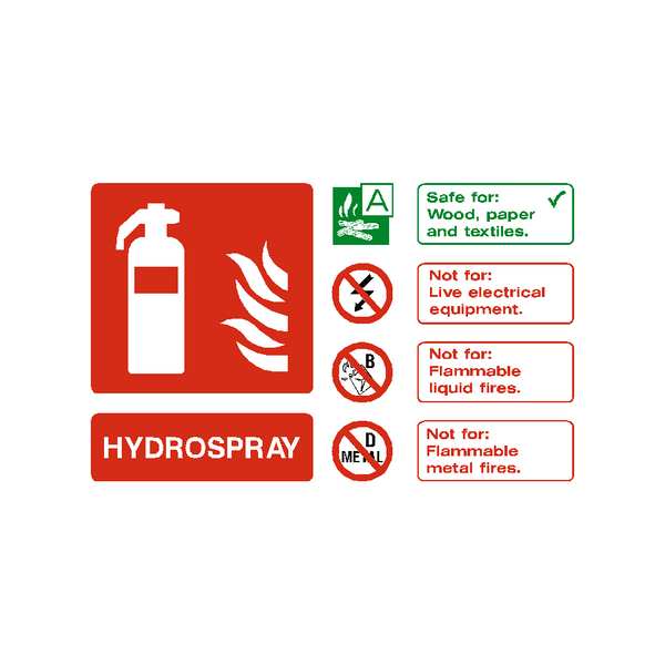 Hydrospray Extinguisher Sign | PVC Safety Signs