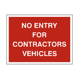 No Entry Contractor Vehicles Sign - PVC Safety Signs