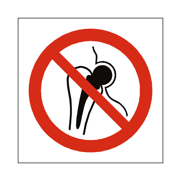 No Metal Implants Symbol Sign - PVC Safety Signs