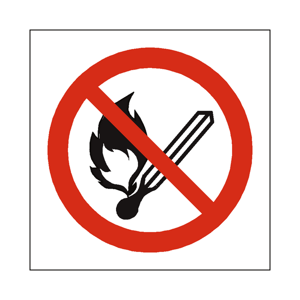 No Open Flame Symbol Sign | PVCSafetySigns.co.uk