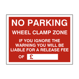No Parking Wheel Clamp Fine Sign | PVCSafetySigns.co.uk