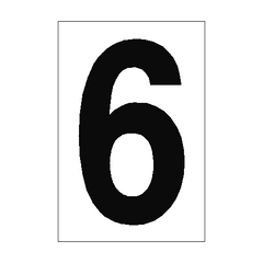 Number Sign 6 White | PVC Safety Signs | Health and Safety Signs