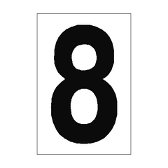 Number Sign 8 White | PVC Safety Signs | Health and Safety Signs