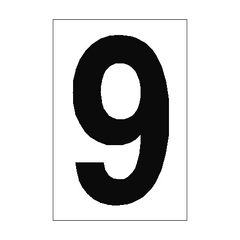 Number Sign 9 White | PVC Safety Signs | Health and Safety Signs