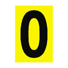 Number Sign 0 Yellow | PVC Safety Signs | Health and Safety Signs