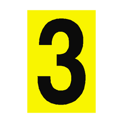Number Sign 3 Yellow | PVC Safety Signs | Health and Safety Signs