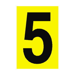 Number Sign 5 Yellow | PVC Safety Signs | Health and Safety Signs