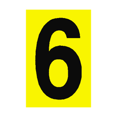 Number Sign 6 Yellow | PVC Safety Signs | Health and Safety Signs