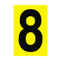 Number Sign 8 Yellow | PVC Safety Signs | Health and Safety Signs