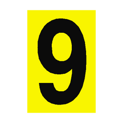 Number Sign 9 Yellow | PVC Safety Signs | Health and Safety Signs