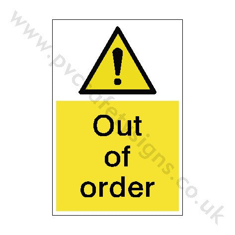 Out Of Order Sign | PVC Safety Signs
