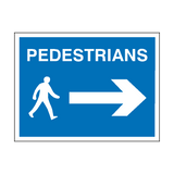 Pedestrians Arrow Right Sign | PVCSafetySigns.co.uk