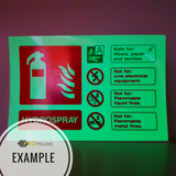 Foam Spray Fire Extinguisher Photoluminescent Sign | PVC Safety Signs