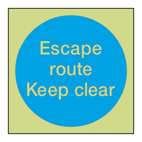 Escape Route Keep Clear Photoluminescent Sign | PVC Safety Signs