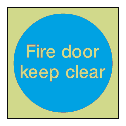 Fire Door Keep Clear Photoluminescent Sign - PVC Safety Signs