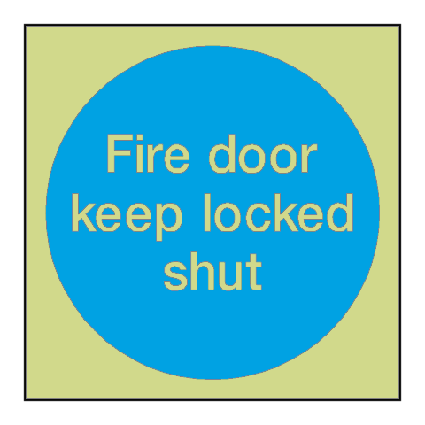 Fire Door Keep Locked Shut Photoluminescent Sign - PVC Safety Signs