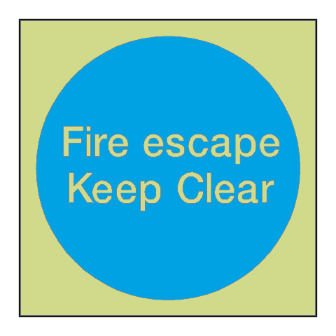 Fire Escape Keep Clear Photoluminescent Sign - PVC Safety Signs