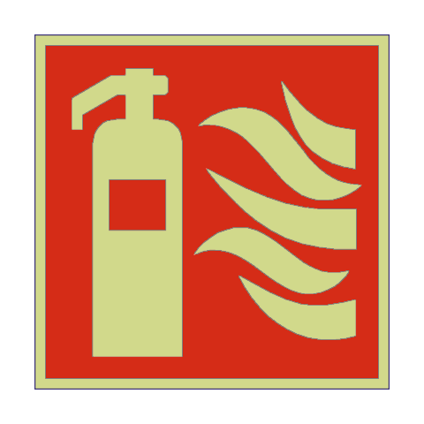 Fire Extinguisher Symbol Photoluminescent Sign Pvc Safety Signs