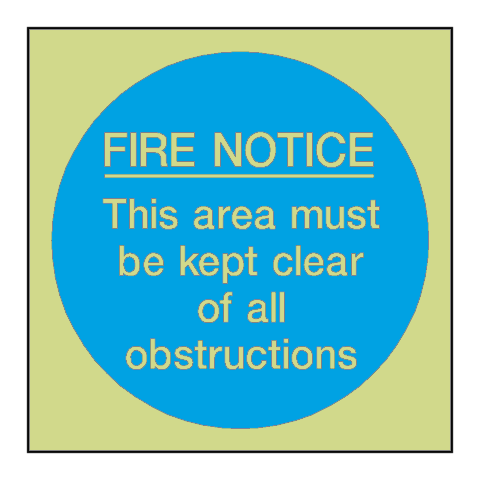 Fire Notice Area Kept Clear Photoluminescent Sign | PVC Safety Signs