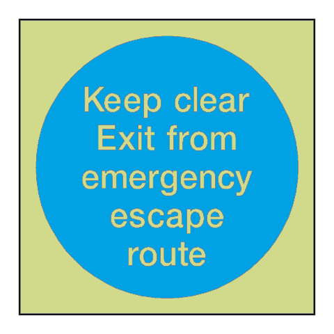 Emergency Escape Route Photoluminescent Sign - PVC Safety Signs