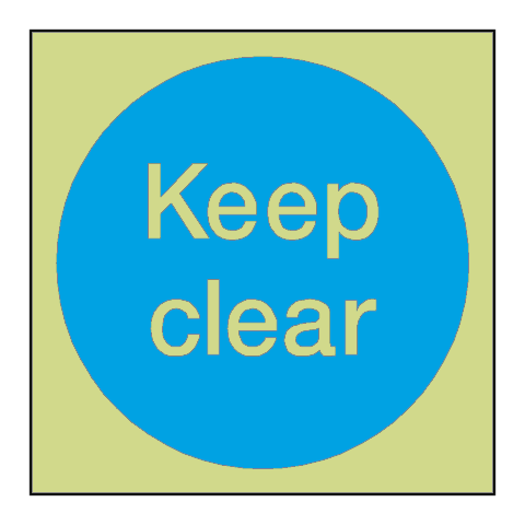 Keep Clear Door Photoluminescent Sign | PVC Safety Signs