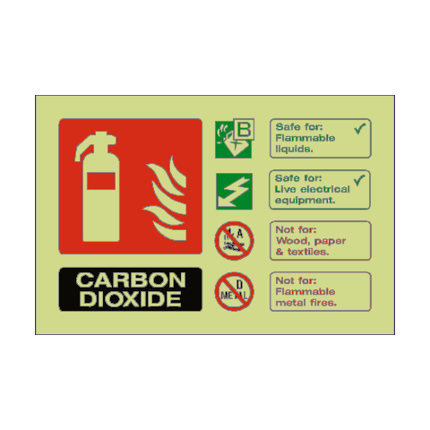 Carbon Dioxide Extinguisher Photoluminescent Sign | PVC Safety Signs