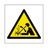 Rapid Movement of Workpiece in Press Brake Hazard Symbol Sign | PVCSafetySigns.co.uk