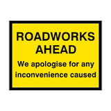 Roadworks Ahead Site Traffic Sign - PVC Safety Signs