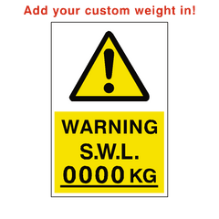 Safe Working Load Sign Kg Custom Weight | PVC Safety Signs | Health and Safety Signs