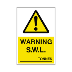 Safe Working Load Sign Tonnes | PVC Safety Signs | Health and Safety Signs